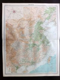 Bartholomew 1922 Large Map. China with Peking inset